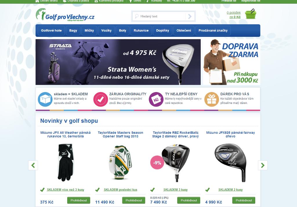 E-shop Golf pro Všechny.cz bežící na platformě Interlink