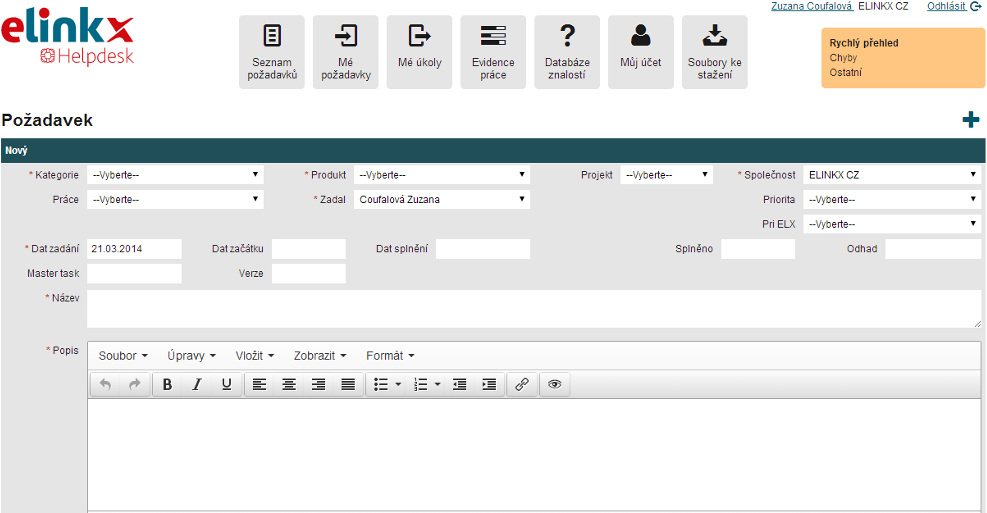 Ukázka z aplikace HelpDesk - E LINKX a.s.