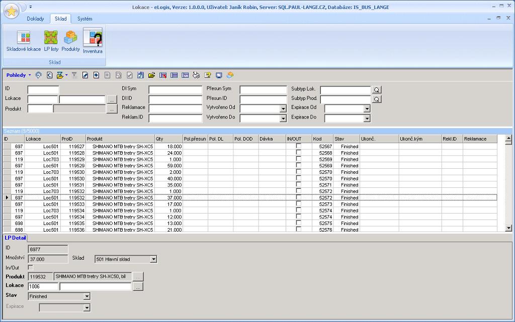 Náhled ze systému pro řízení skladů eLogis - WMS - lokace