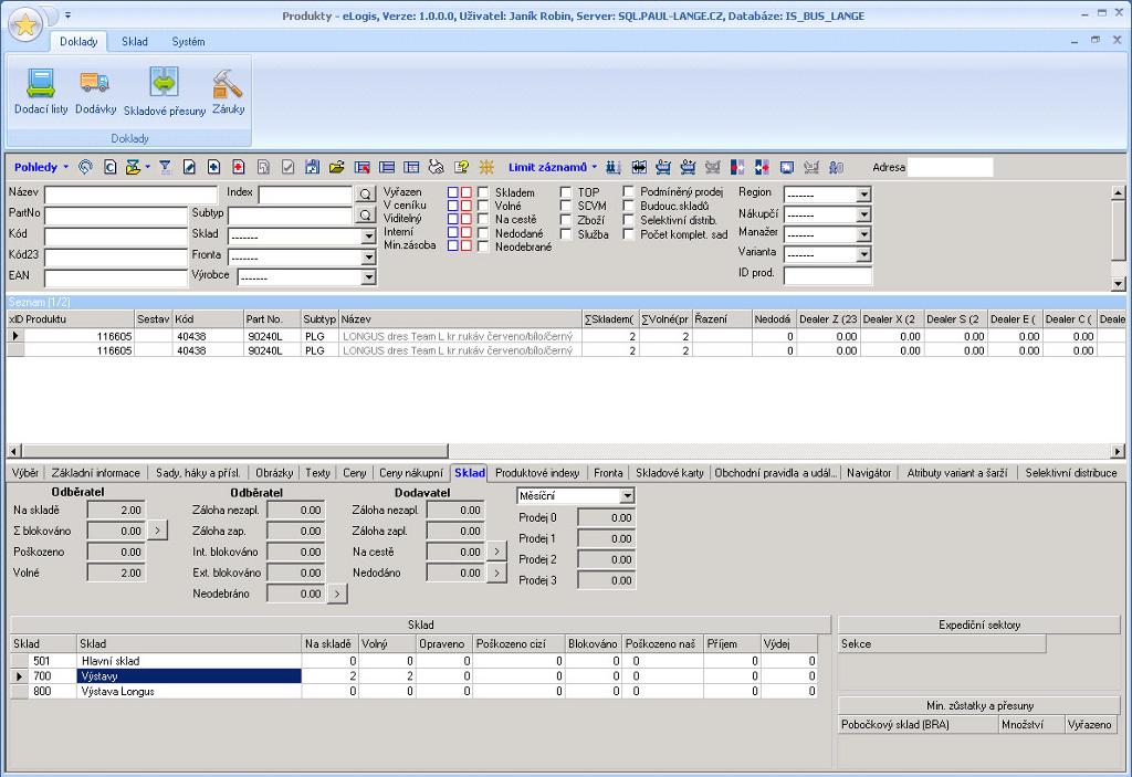 Náhled ze systému pro řízení skladů eLogis - WMS - produkty