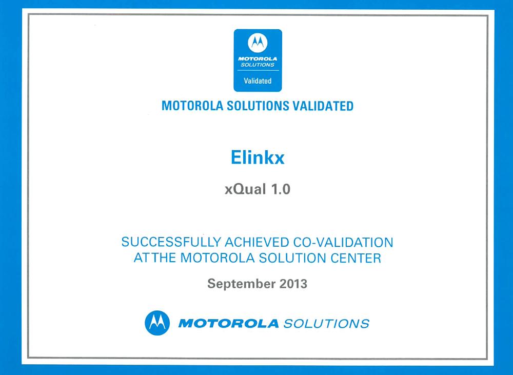 Motorola solutions validated - ověřené řešení xQual pro kontrolu kvality